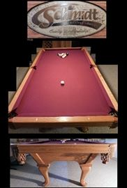 Schmidt slate top Pool table with Queen Anne legs.