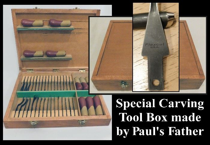 Flexcut Carving Tools with Handcrafted Tool Box.  Made in USA.