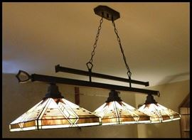 Tiffany style pool table light fixture.