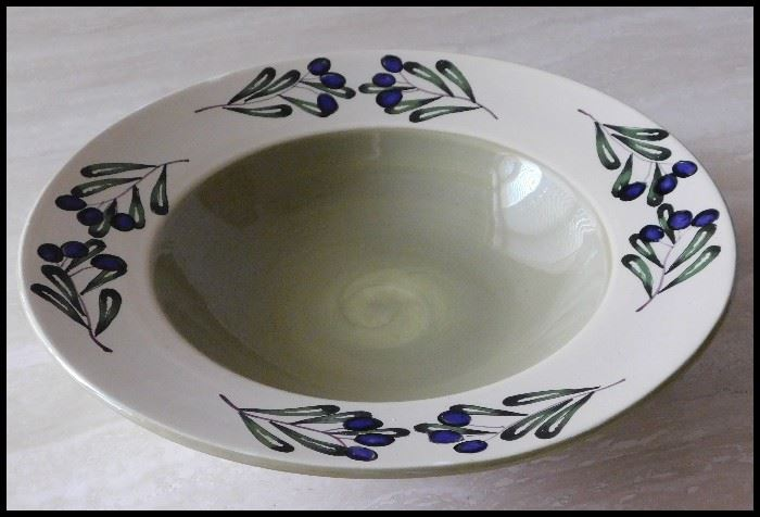 Large pottery handpainted bowl