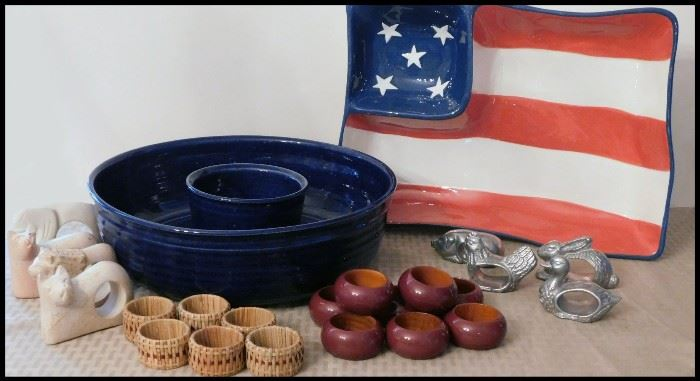 Pottery chip and dip sets and napkin holders