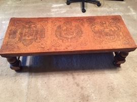 Spanish leather top table -- there are 4 leather top stools