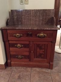 Eastlake washstand with raspberry marble top & backsplash