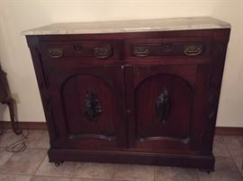 """1840s mahogany """"Fish & Fowl"""" sideboard with marble top"""