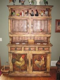 Rooster painted Hutch/Cabinet.