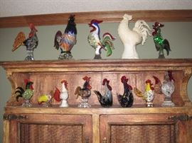 Art Glass Birds/Roosters.