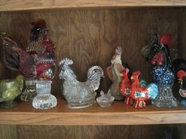 Roosters everywhere, eggcups, etc.