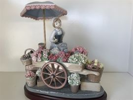 Lladro Puesto de Flores No. 1454 Flower of the Season Girl Umbrella Flower Cart made by Jose Puche 1983