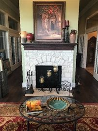 Sidney Sinclair Numbered Art, Various Decor from Pier One and Southern Living. Ethan Allen Oval Glass Top Coffee Table with Decorative Bowl