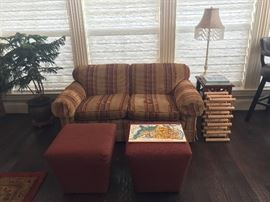 Ethan Allen Sofa with Ethan Allen Ottomans & EA End Table