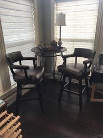 Custom Designed Swivel Bar / Pub Height Chairs - Leather with Ceramic Safari Chest Set