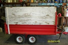 Red Dump Trailer with wood sides