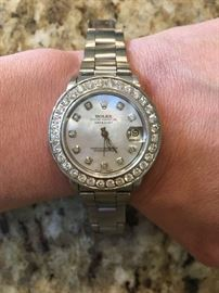 Women's Mid Size Rolex, Oyster Perpetual Datejust with 2.5 TCW Diamonds