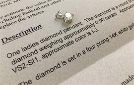 Diamond Pendant, .09 carats, Set in 14K