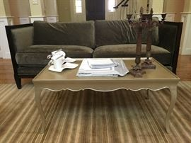 Brushed Aluminum Coffee Table, Linens