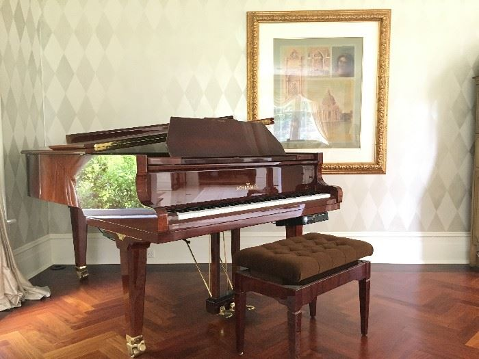 High Gloss Shimmel Baby Grand Piano with Pianodisc System, Serial # 341932