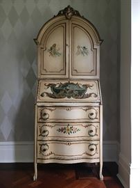 Early 20th c. Italian Hand Painted Secretary, Signed