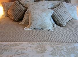 Detail of toile bed linens