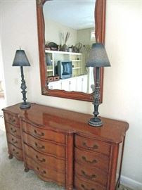 Country French triple dresser and mirror with very interesting boudoir lamps