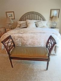 King bedroom set, custom made headboard, toile bedding, and bed bench