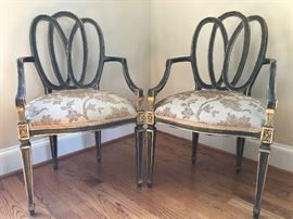 Pair or ribbon back ebony & gold accent chairs with pillows