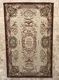 French Aubusson design handwoven wool tapestry or wall hanging