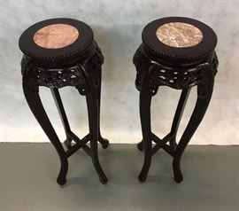 Marble Center hand carved Round pedestal/plant stand pair