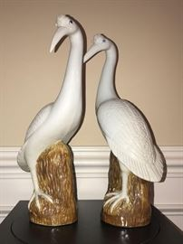Pair of decorative hand painted ceramic cranes