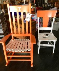 "Tennessee Vols ""HINKLE CHAIR CO."" Rocker and custom painted TN antique orange and white side chair."