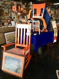 TN Vols rocker, painted antique chair, framed TN Vols artwork, and 3 TN Vols Men's Jackets