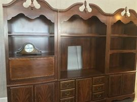 Nice, 3-Piece Lighted Entertainment Center with scalloped top pieces