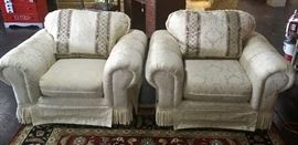Two Matching Chairs that goes with the 4-Piece Sofa Set, with fringed bottom corners