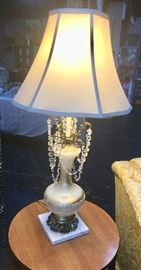 Beautiful vintage marble based lamp with crystals
