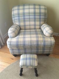 Overstuffed armchair & matching ottoman