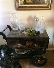 chinoiserie tea cart, Crystal