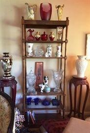 one of a pair of bookcases, Venetian Glass, Crystal, 2 oriental plant stands, Satsuma Vase