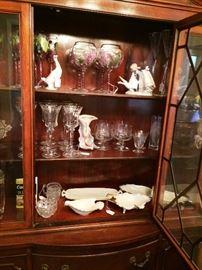 Buffet, Lladro, Nao,  Handpainted glasses Lenox