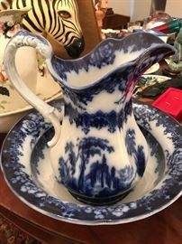 Flow Blue Wash Bowl and Pitcher