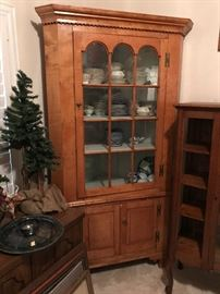 One of the Nicest Tiger Maple Antique 12 Pane Corner Cabinets You Will Find