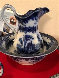 Rare Charles Meigh Flow Blue Washbowl and Pitcher in the Troy pattern