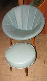 Mid century modern chair, ottoman