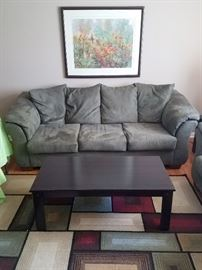 Microsuede sofa with matching loveseat