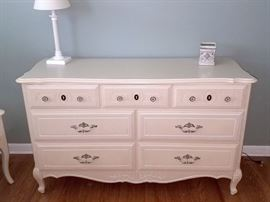 White juvenile dresser with matching desk, nightstand and tall chest