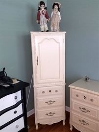 White juvenile tall chest with matching nightstand, dresser, and desk