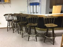 Five vintage bar chairs.