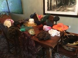 Vintage hats and hairpieces.