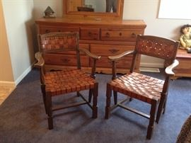 Western Ranch Oak Leather Chairs