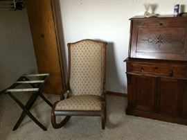 Antique rocker, luggage stand, secratary desk