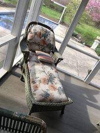 Wicker porch chaise