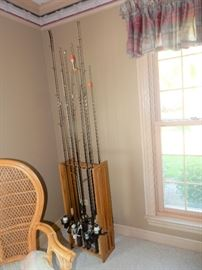 Fishing rods, reels and holder